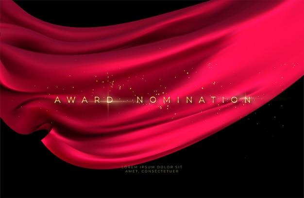 Cerimonia di nomina del premio con lussuosa seta rossa volante ondulata