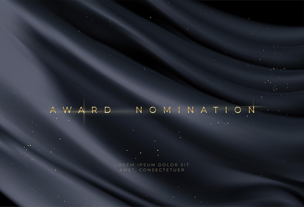 Nomina del premio su sfondo ondulato nero di lusso