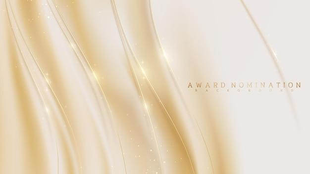 Nomina del premio su sfondo di lusso color crema pastello, linea curva dorata su scena di tela scintilla, illustrazione vettoriale realistica 3d.