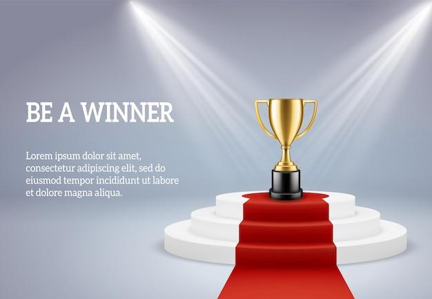 Podio del premio con l'illustrazione del trofeo