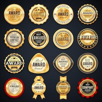 Emblemi di etichette di qualità e premio con cornici dorate