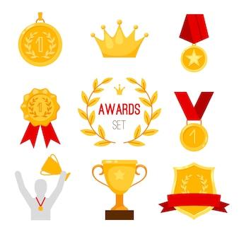 Trofeo premio e set di medaglie