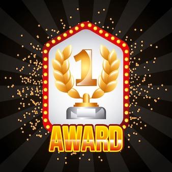 Vincitore del premio numero uno ramo di alloro e quadro luminoso sul piedistallo Vettore Premium