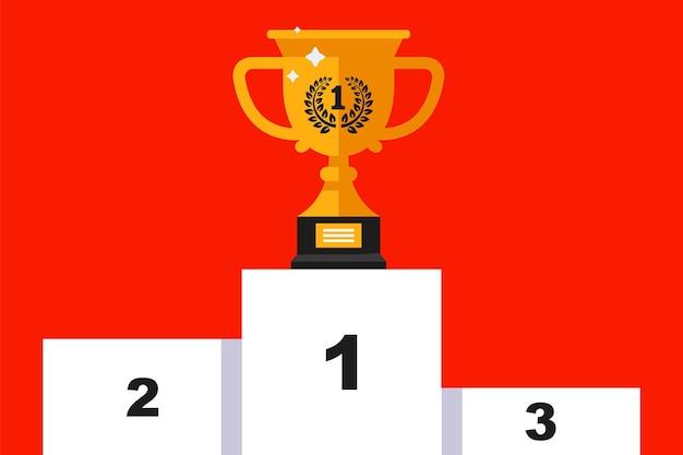 Cerimonia di premiazione. piedistallo con una coppa d'oro. piatto