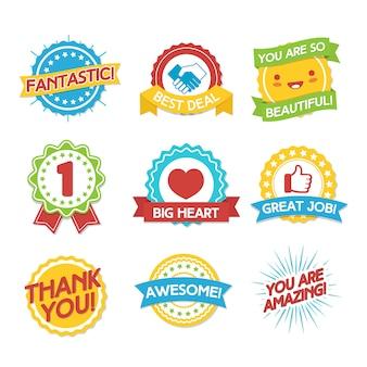 Set di etichette premi e complimenti. illustrazione di design stile piano. illustrazione vettoriale