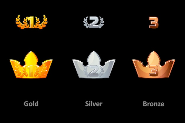 Premi icone della corona Vettore Premium
