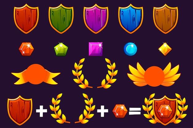 Premi scudo e set di gemme, costruttore per creare kit diversi premi. per gioco, interfaccia utente, banner, applicazione, interfaccia, slot, sviluppo di giochi. oggetti vettoriali su un livello separato.