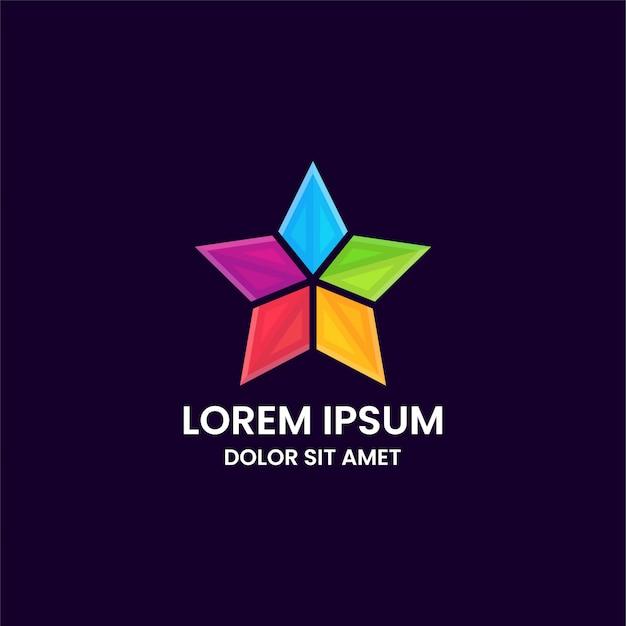 Modello di progettazione di logo astratto colorato stella impressionante
