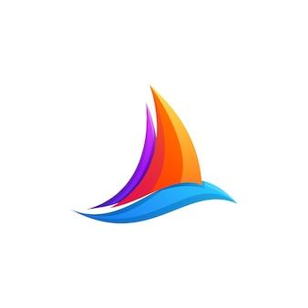 Fantastico design colorato del logo sfumato della barca