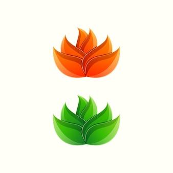 Fantastico disegno colorato logo sfumato foglia di loto