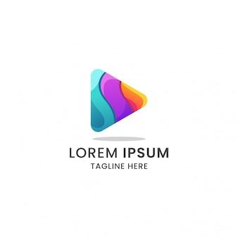 Vettore premio dell'icona di logo del pulsante di riproduzione gradiente colorato impressionante