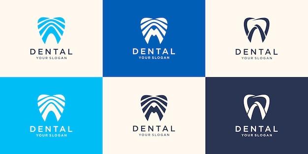Fantastico modello di logo di clinica odontoiatrica. concetto del logo dentista