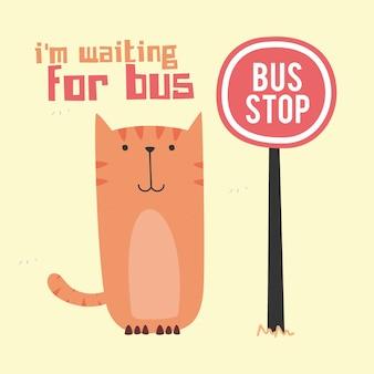 Impressionante doodle simpatico gatto in attesa di autobus