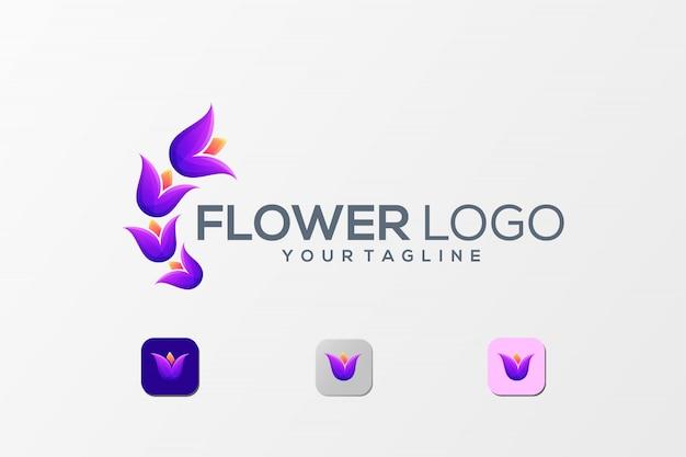 Fantastico logo a colori con fiori