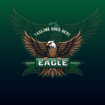 Fantastico logo della mascotte dell'aquila volante per modello di identità di design sportivo o di comunità