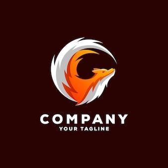 Impressionante volpe logo design vettoriale