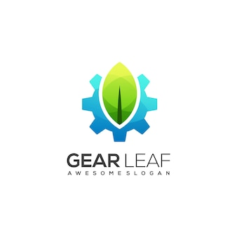Fantastico logo sfumato colorato di ingranaggi e foglie