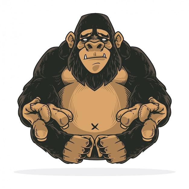 Impressionante gorilla seduto