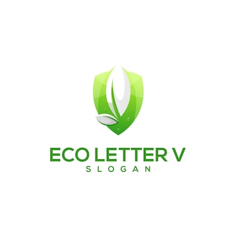 Impressionante lettera v foglia logo