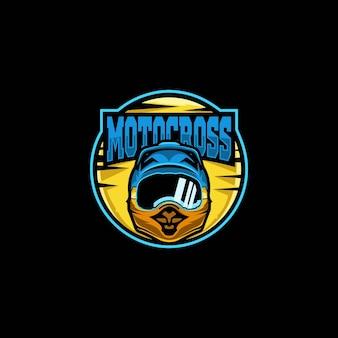 Fantastico logo premium del casco da motocross della mascotte