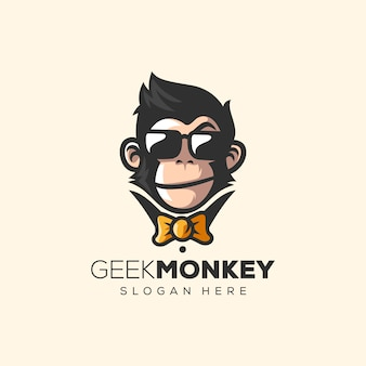 Impressionante scimmia logo vettoriale illustrazione