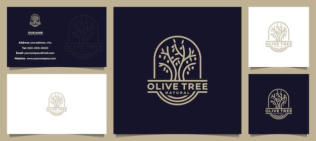 Fantastico ulivo, design del logo dell'olio d'oliva, con biglietto da visita