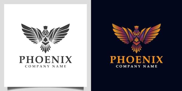 Fantastica fenice, aquila, ali di falco simbolo vettore gradiente logo illustrazione con silhouette logo design