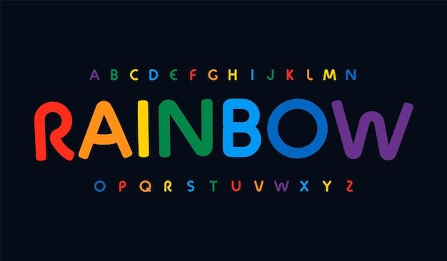 L'incredibile alfabeto color arcobaleno ha arrotondato il carattere minimalista per il moderno titolo del logo luminoso