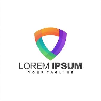 Fantastico design del logo sfumato scudo