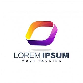Fantastico design del logo a gradiente quadrato