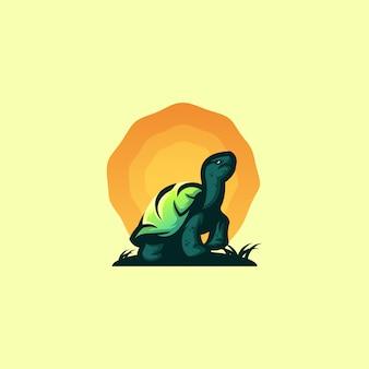 Fantastico design del logo tartaruga tramonto