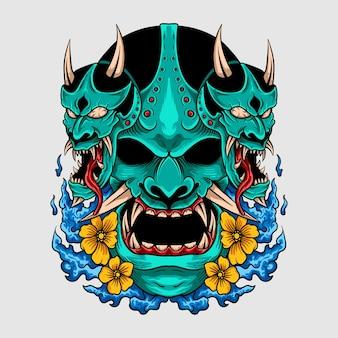 Fantastico design della maglietta in stile giapponese maschera hannya oni colorata con fiori