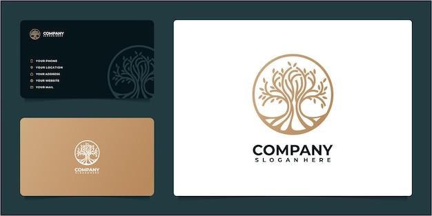 Fantastica idea del logo dell'albero in stile art line