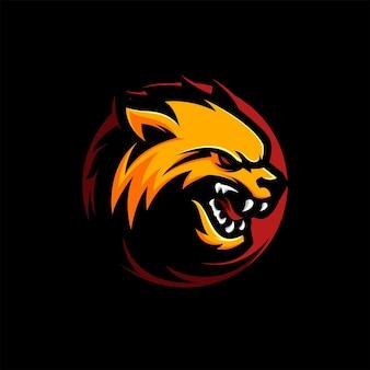Impressionante illustrazione vettoriale della mascotte del logo della volpe del lupo arrabbiato giallo
