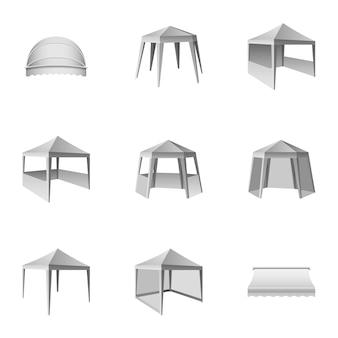 Set di icone per tende da sole, stile isometrico