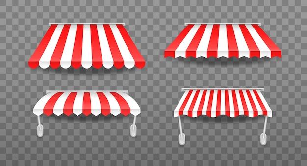 Tende da sole di diverse forme con ombre tende da sole colorate a strisce per negozio