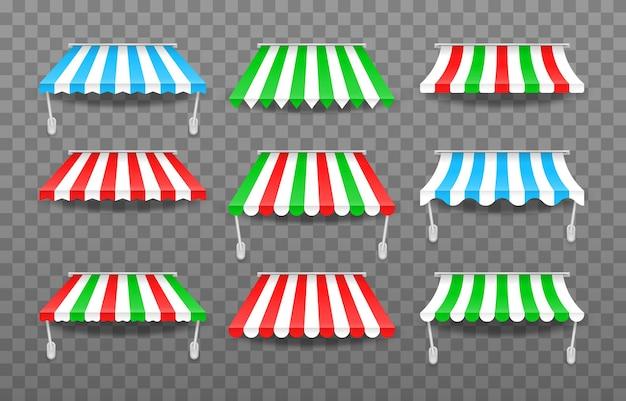 Tende da sole di diverse forme con ombre Vettore Premium