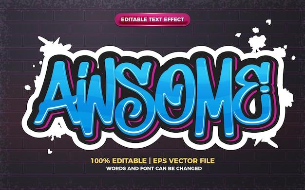 Fantastico effetto di testo modificabile con logo in stile graffiti art 3d