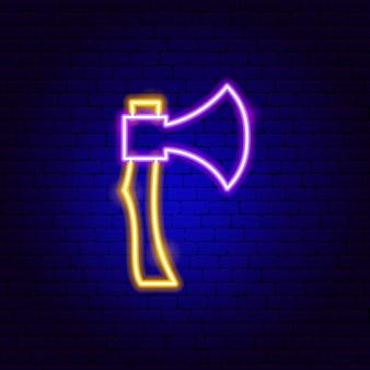Insegna al neon dell'ascia. illustrazione vettoriale di promozione dello strumento.