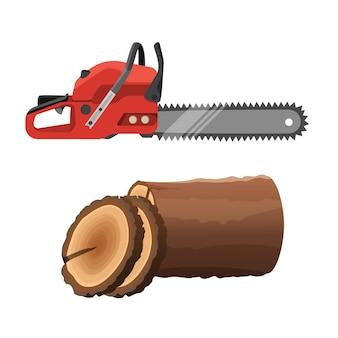 Sega axeman e moncone isolato su sfondo bianco. motosega a gas e parti rotonde del tronco d'albero. illustrazione realistica della sega elettrica a benzina