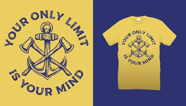 Design della maglietta con assi e ancora