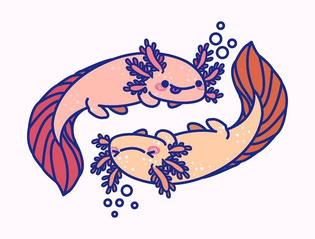 Illustrazione di salamandra axolotl