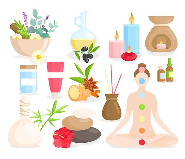 Insieme del fumetto di medicina ayurvedica, collezione ayurvedica con articoli per la cura del corpo, erbe naturali, fiori.