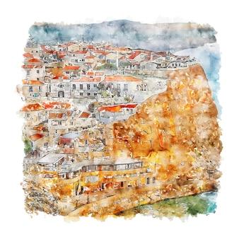 Illustrazione disegnata a mano di schizzo dell'acquerello di azenhas do mar lisboa portogallo Vettore Premium