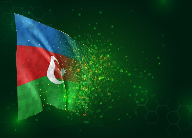 Azerbaigian, bandiera 3d su sfondo verde con poligoni