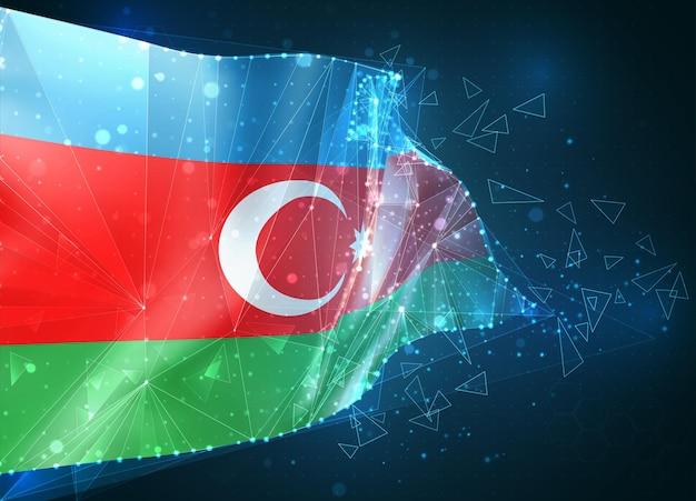 Azerbaigian, bandiera, oggetto 3d astratto virtuale da poligoni triangolari su sfondo blu