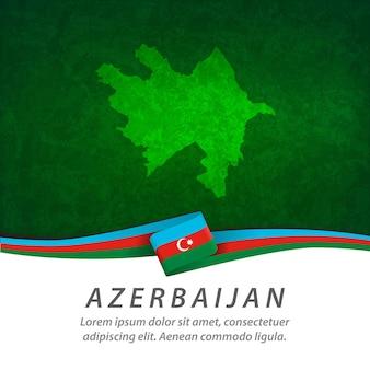 Bandiera dell'azerbaigian con mappa centrale