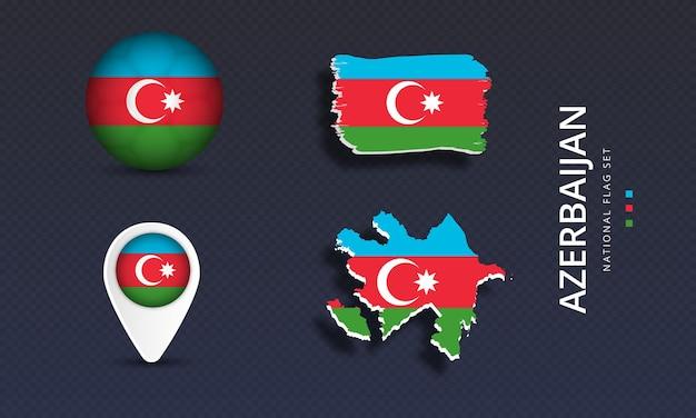 Insieme della bandiera dell'onda del paese nazionale dell'azerbaigian