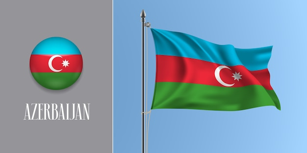 Azerbaigian sventola bandiera sul pennone e icona rotonda illustrazione