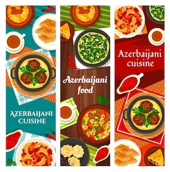 Pasti azerbaigiani baklava alle noci, pilaf shah e ovrishta in umido. frittata di erbe kuku, tava kebab, torta di pesce kyata o stufato di verdure di agnello choban govurma con, agnello stufato di ceci piatti di piti